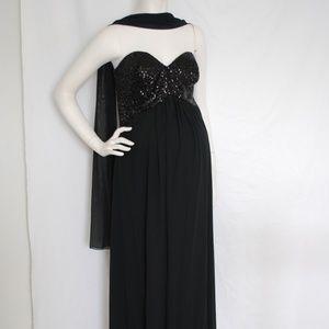 Unbranded Dresses - La Femme Black Sequins Strapless Maternity Gown